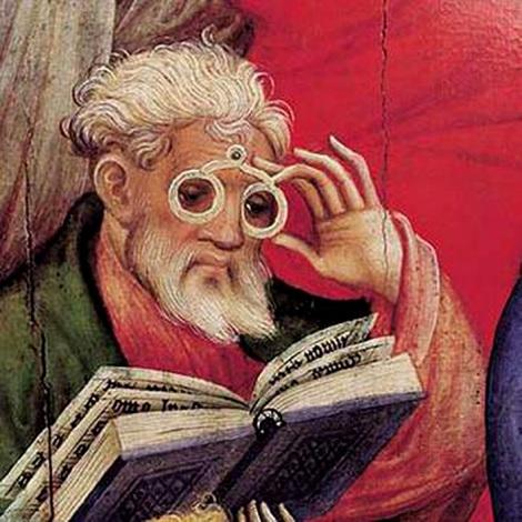 En sus inicios, las gafas eran bastantes incómodas en su uso, tal como se observa en este cuadro de principios de 1403. Conrad von Soest. Brillenaposte.