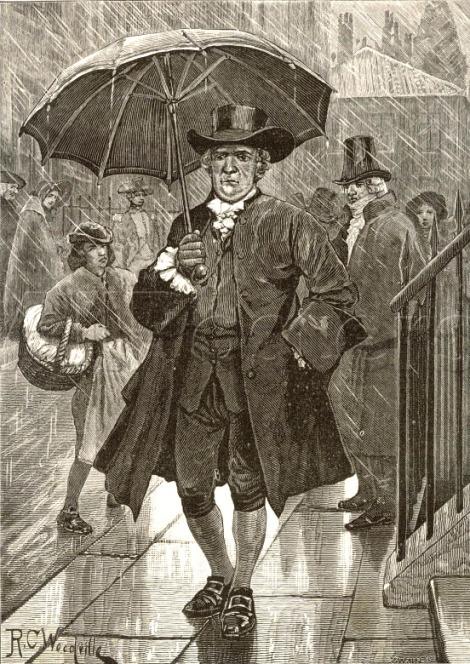 1750 Jonas Hanway- El primer ingles en usar sombrilla