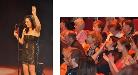 María Isasi recibiendo su galardón. A la derecha, Sergio Peris Mencheta celebrando el premio junto a Ainhoa Aldanondo. Fotografías por Rocío Pastor Eugenio. WOMANWORD