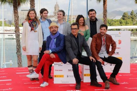 Equipo de Somos Gente Honrada en el Festival de Cine de Málaga. Fotografía de Antonio Pastor