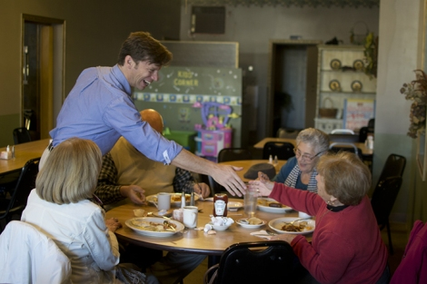 Matt Alexander, Candidate for Congress, on the campaign trail, meeting with voters. Photo by Dmitri Kasterine